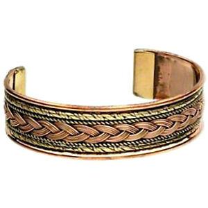 "Copper & Brass Braid Design Cuff Healing Bracelet 2-3/4"" Large Men Bangle"