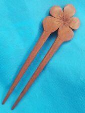 Hawaiian Koa Wood Plumeria Top Hair Stick Pick - Made In Hawaii