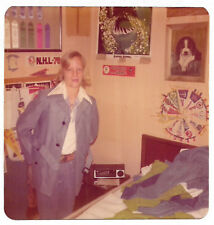 Square Vintage 70s PHOTO Young Blond Boy w/ Long Hair In Casual Suit In Room