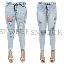 Ladies Womens Destroyed Ripped Frayed Distressed Slim Denim Pants Jeans Trousers