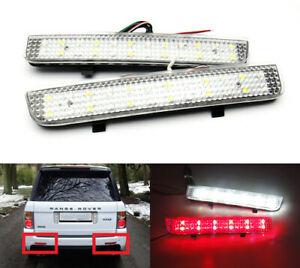 Pair LED Clear Bumper Reflector Tail Backup Light For Range Rover Freelander LR2