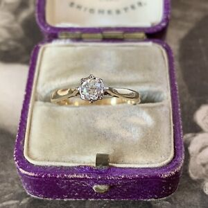 Art Deco 18ct Gold Diamond Engagement Ring, Antique Solitaire 0.25ct UK L US 5.5