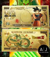 5pcs Japan 100 Million Yen Dragon Ball Z Goku Vegeta Gold Foil Banknote
