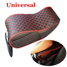 Black/Red Grid Car Center Console Armrest Cushion Leather Pad Cover w/Pocket
