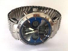 Denacci Mens Blue Grey Dial Watch Digital Stretchable Band Runs New Battery