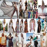 Women Lace Crochet Summer Beach Bikini Cover Up Long Swimwear Dress Bathing Suit