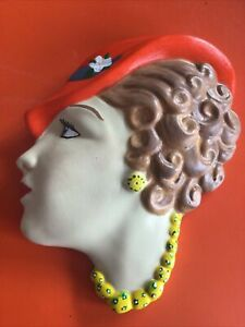 Vintage Style Art Deco Woman Lady Head Face Wall Plaque Chalkware Plaster Retro