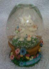 Easter Snow Globe Bunnies in Basket Flowers Happy Easter Decoration Nib