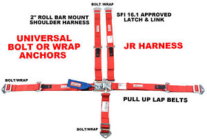 """RACER DIRECT Q-M RACING 2"""" HARNESS SFI 16.1 5 POINT LATCH & LINK SEAT BELT RED"""