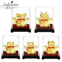 Chinese Zodiac Collect Wealth Ornaments Gold Foil Fengshui Decor OX Dragon Gifts