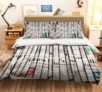 3D Newspaper Book ZHUA3484 Bed Pillowcases Quilt Duvet Cover Set Queen King Zoe