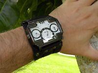 Men's Triple Time Zone Sport Wrist Watch Bracelet high quality bison leather