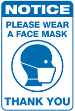 A4 Laminated Sign for face covering safety first virus