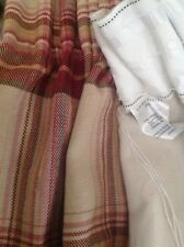 """LAURA ASHLEY BRODIE WEIGHTED SINGLE DOOR CURTAIN CHECK HEAVY COTTON 87"""" L X 63"""