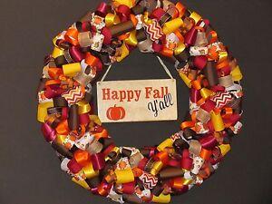 Happy Fall Y'all Ribbon Wreath, Thanksgiving, Halloween
