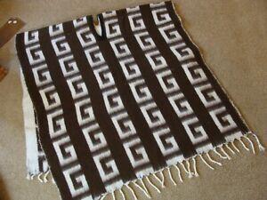 Vintage Geometric Poncho Cape Shawl Boho Fringe Tassels 70's Hippie Retro