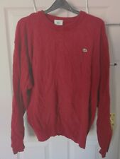Mens Lacoste Red Pullover Jumper Wool Sweater Small Vintage