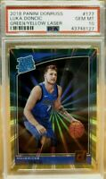 PSA 10 RC Luka Doncic 2018-19 Donruss Green Yellow Laser Rated Rookie #177 Lazer