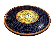 48'' Marble Dining Table Top Lapis Mosaic Stone Inlay Marquetry Furniture Decor