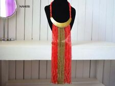 African beaded fringe necklace tribal red African fashion jewelry gift for her