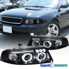 For 99-01 A4 Dual Halo Led Projector Headlights Head Lamps Black SpecD Tuning