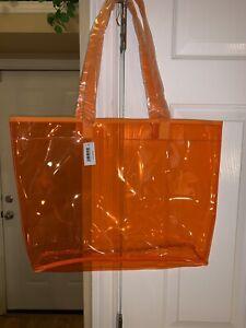 PRICE DROP!! Clinique Orange Large Tote Shopper See Thru Happy Beach Bag BNWTS