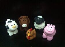farm barn 5 Edible animals horse,brown chicken ,pig,sheep cake cupcake topper