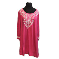 Woman Within Women's  Plus Size 2X Embroidered Knit Tunic Top Shirt Hot Pink
