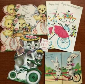 Lot of 6 Vintage Easter Greeting Cards Bike Bicycle Themed