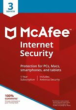 McAfee Internet Security 2018 1 Year Licence for 3 PC Users - Latest Edition
