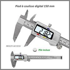 Pied à coulisse micromètre Vernier digital LCD 150mm acier inoxydable + Pile