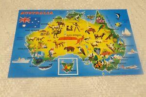 VINTAGE POSTCARD CONT SIZE AUSTRALIA MAP 1990'S