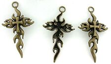 6 PEWTER ANTIQUED BRONZE LEAD FREE LEADFREE FLAMING CROSS PENDANT CF823