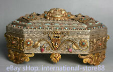 12 inch Old Tibetan Gold Filigree Silver Gemstone Mahakala Buddha Head Box