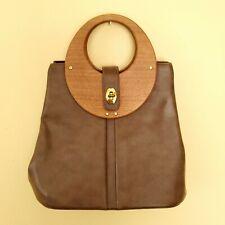 vintage Wooden Handles Purse Handbag Synthetic Leather 80s