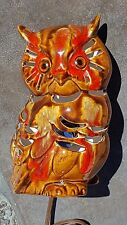 1960's HP Ceramic Owl Lamp Lots of Places 4 Light to Shine Signed Knight's Craft
