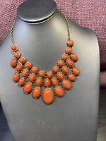 """Gold Pumpkin Orange spice Smooth Cabochon Bib Statement Necklace Gift 16"""""""