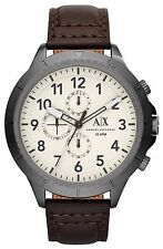Armani Exchange Original Aeroracer AX1757 Brown Leather Watch Chrono 50mm
