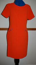 Nuevo Vestido Recto Talla 10 Naranja Década de 1960 estilo espalda expuestas Cremallera & Bolsillos Crepe