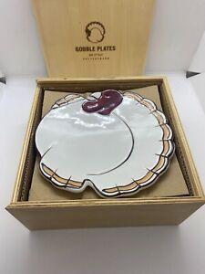 Pottery Barn Gobble Turkey Plates Set of 4 Salad Dessert 7 x 6.5 Wooden Box