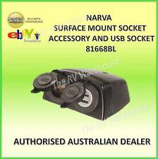 Narva 12V DUAL ACC/USB 81168BL Surface Mount Socket Car Caravan Boat 4WD PARTS