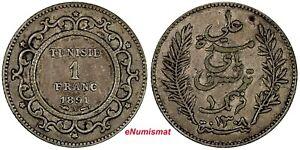 Tunisia Ali III Silver 1308 (1891) A 1 Franc Toned KM# 224 (19 021)