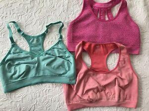Lot of 3 Sport Bras Women XL Pink Legend & coral Profit & blue Danskin wirefree