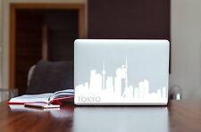 Laptop computer decal sticker of the Tokyo Japan Skyline Silhouette Matte White