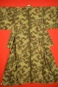 Vintage Japanese Silk Antique KIMONO Kusakizome KOMON Dyed Textile/S6A6/830