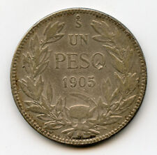 CHILE 1905 ISSUE 1 PESO SILVER COIN,NICE TONED CHOICE VF.