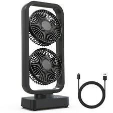 Portable Fan Desk/Table Oscillation Fan 2-Heads Fan 10000mAh Rechargeable & USB