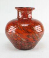 Rote Kupfer Aventurin Avventurina Glas Vase 70er 80er Jahre Glitzervase rot