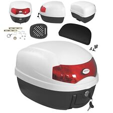 Universal Adaptable Motorbike Scooter with backrest Box Top Case White