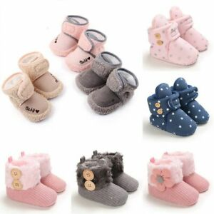 Crib Pram Shoes Winter Baby Girl 0-18M Newborn Warm Snow Booties Fur Lined Boots